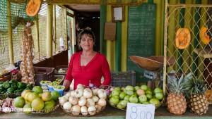 Auf dem Weg nach Batabano bei der freundlichen Obst und Gemüsehändlerin mit Peso bekannt gemacht